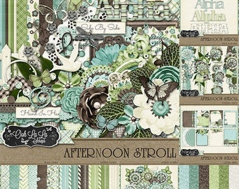 On Sale 50% Off Afternoon Stroll Digital Scrapbooking, Spring, Summer