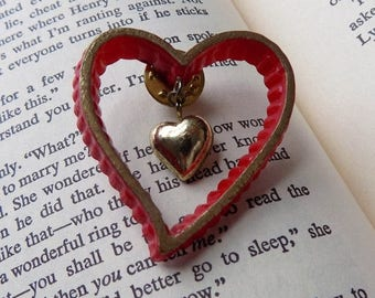 80s Red and Gold Heart Pin Valentines Day Jewelry