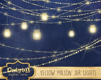Yellow Mason Jar Lights Clipart, sparkle wedding fairy lights clip art, png mason jar graphics, glowing rustic magic garden digital download