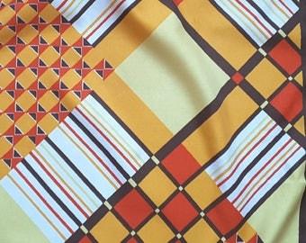 Vintage shawl, foulard Trevira, 70, Mondrian Art forms in fresh colors, Brown, yellow, Orange