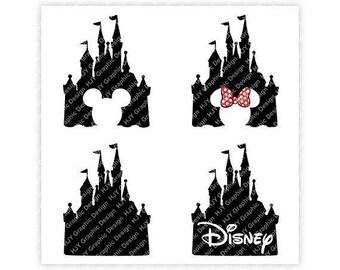 Disney, Castle, Mickey, Minnie, Mouse, Icon, Head, Ears, Digital, Download, TShirt, Cut File, SVG, Iron on, Transfer