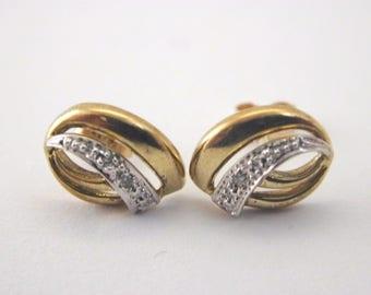 9ct Yellow Gold Diamond Earrings 1.5g