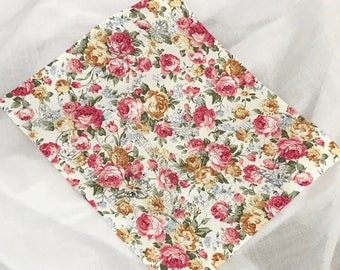 French Floral Roses Fabric Remnant with Stamping. Craft fabric idea from Australia