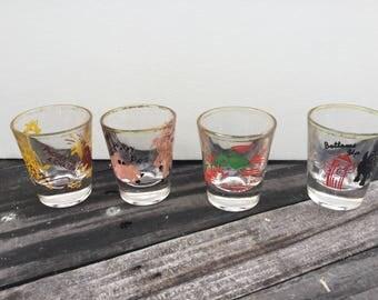 Kitchy vintage set 4 shot glasses
