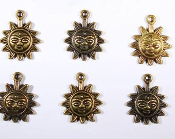 6 charms Sun brass metal Pendants Charms