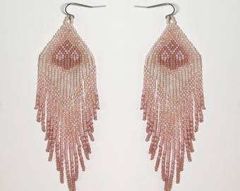 Ready to ship. Handwoven beaded earrings, blush fade