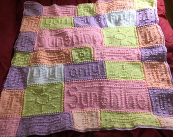 You are my sunshine hand crochet pram blanket