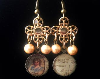 Vintage style dangle earrings miniature portrait and letter