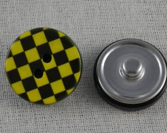 Yellow and black checkered button snap