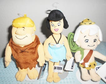 """Warner Brothers Barney, Betty and Bam Bam Ruble From the Cartoon """"The Flintstones""""/Retired Beanbag Plush Collection/New With Tags/Adorable!"""