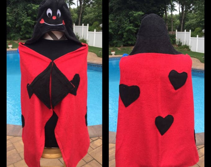 Lady Bug Hooded Towel Bath Wrap - Personalized