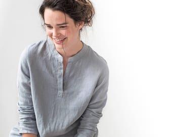 FRENCH BOYFRIEND linen shirt / long washed linen shirt / linen shirt - dress in light elephant grey