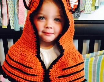 Crocheted Animal Hood, Tiger