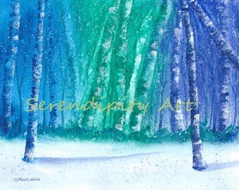 """Winter Birch Forest - 8""""x10"""" Original Watercolor Painting"""