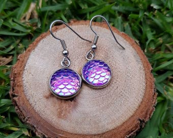 Purple based mermaid dragon scale drop earrings 1.2cm dangle. Hypoallergenic surgical stainless steel posts. Colour change