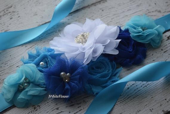 Flower Sash,royal blue  white  turquoise Sash  , flower Belt, maternity sash