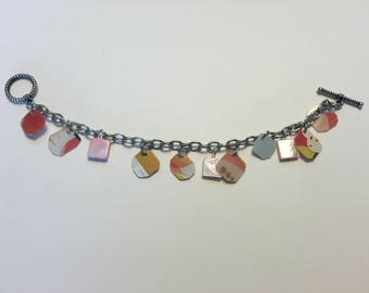 starbucks dangle charm bracelet, handmade gift card bracelet, upcycled, recycled,valentine gift, gift for her, starbucks lover