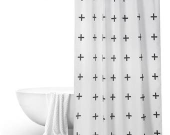 "Black white geometric Shower Curtain bathroom decor panels  customized size 71x79""/79x79"""
