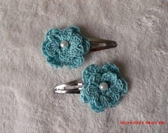 crochet flower hair clip