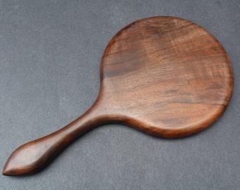 Hand Mirror Large Figured Wood Hand Held Highly Figured Oregon Black Walnut Wood Made in USA