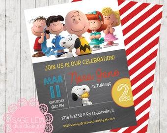 Custom Printable Snoopy Peanuts Chalkboard Boy Red Stripes Party Birthday Celebration Invitation Invite Card