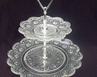 American Concord Crystal Clear Two Tier Tidbit Brockway Glass