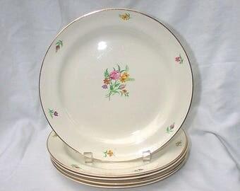 "Cunningham & Pickett Homer Laughlin CHINTZ 9 3/8"" Dinner Plates 97645 FIVE"