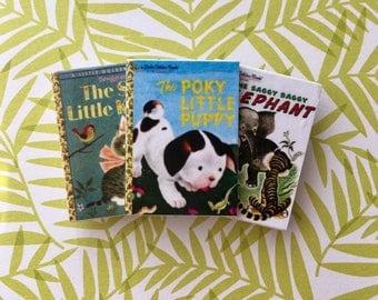 Little Golden Book TRIO BROOCH Shy Little Kitten, Poky Puppy, Saggy Baggy Elephant-Disneybound, Miniature, Flare, Mini, Reading, Nostalgia