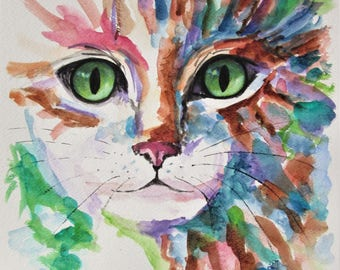 original cat art, kitten painting, cat portrait, abstract cat art, cat painting, pet portrait, cat lover gift, home decor, gift for children