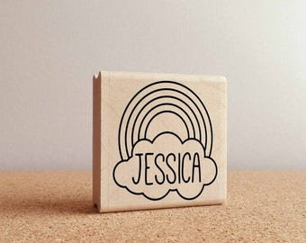 BACK TO SCHOOL Sale Rainbow Personalized Rubber Stamp with Name, Custom Rainbow Stamp for Kids