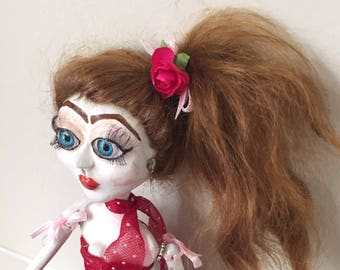 rockabilly retro swish dress rock and roll art doll creepy doll composition