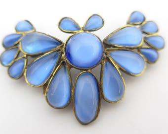 Vintage Czech Blue Satin Glass Butterfly Brooch Pin