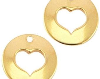 """DQ Metal Pendant """"Herz""""-1 piece-Ø 16 mm-Zamak-color selectable (color: Gold)"""
