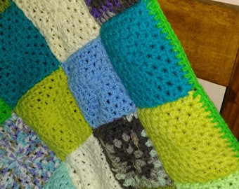 crochet patchwork baby blanket/square/baby boy/32.5 ins square (92.5 cms)/straight edge/large/easy care/multi-use/machine wash/tumble dry