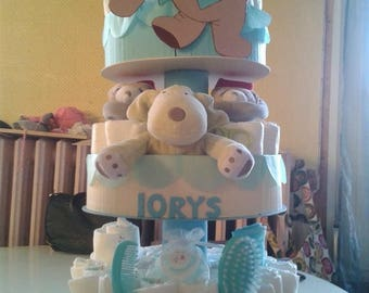 "3 floors ""my buddies and me"" diaper cake"