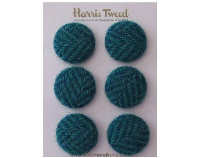 Harris Tweed Pure Wool Blue & Sea Green Herringbone Handmade Covered Set of 6 Buttons 24mm Diameter