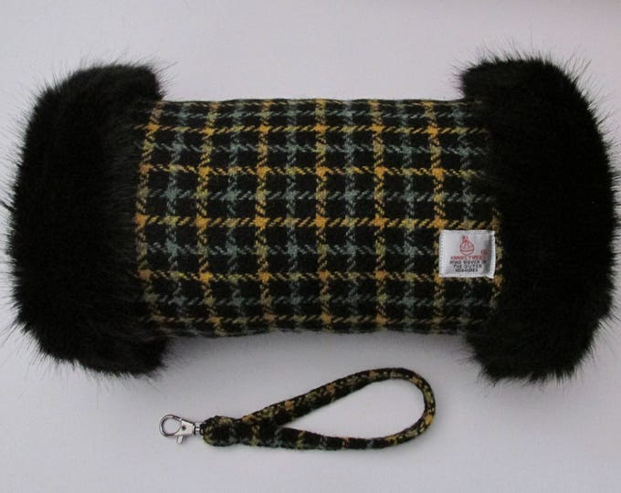 Harris Tweed Sage & Mustard Check Hand Muff with Black Faux Fur Trim