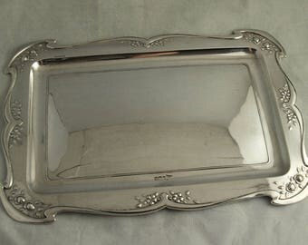 Art Nouveau Sterling Silver Tray - 378g - Walker & Hall Sheff. 1899.