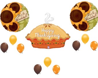 12 pc. THANKSGIVING PUMPKIN PIE dinner banquet Balloons Decoration Supplies
