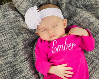Monogrammed Baby Gown   Newborn Gown   Baby Girl Layette   Baby Shower Gift   Take Home Outfit   Infant Gown   Baby Girl Gown   Baby Gift
