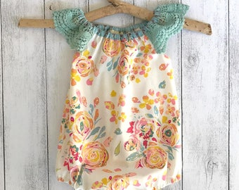 Free Spirit Romper with Lace sleeves - Cream floral with pale green lace sleeves