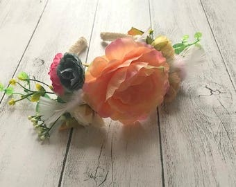 Floral headband - Photo prop or wedding. Girls to adult one size