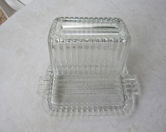 Large Clear Ribbed Glass Butter Dish