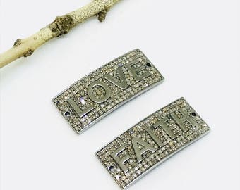 Pave diamond link, connectors Charms set in sterling silver (92.5). Natural authentic diamonds .