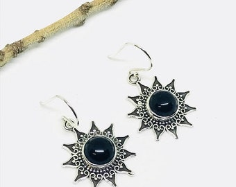 10% Black obsidian earrings set in sterling silver 925. Natural authentic perfectly matched stones.