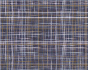 Crosshatch Chromite in knit by Angela Walters for Art Gallery fabrics, plaid jersey knit by the yard, blue plaid print 4 way stretch knit