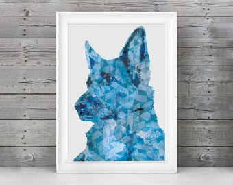 German Shepherd Watercolor Art Print, German Shepherd Decor, German Shepherd Gift, German Shepherd Nursery, Silhouette Art