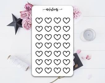 Mini heart matte planner stickers