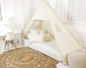 Play Tent Canopy Bed in Natural Canvas - Quick Ship