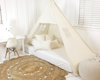 Play Tent Canopy Bed in Natural Canvas TWIN Size - Quick Ship